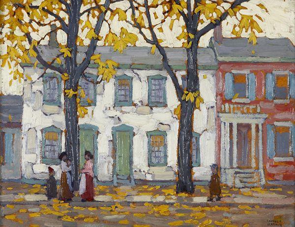 """""""In the Ward, Toronto,"""" Lawren Harris, ca. 1919, oil on beaverboard, 10 1/2 x 14"""", Art Gallery of Hamilton."""