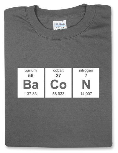 ThinkGeek :: Periodic BaCoN: Stuff, Chemistry, Clothing, Periodic Tables, Bacon Bacon, Random, Shirtso Funny, Periodic Bacon, T Shirts