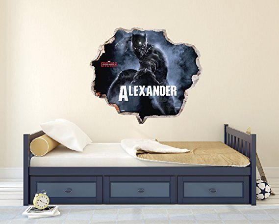 Custom Name Black Panther 3d Effect Brake Wall Effect 3d Wall