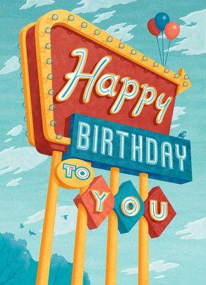 Happy Birthday in Lights 5x7 Folded Card