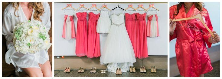 Las Vegas wedding planner, Springs Preserve wedding, bridal party robes, silk robes, coral bridesmaid dresses, ballgown wedding dress, tulle wedding dress, tulle flower girl dress, personalized hanger