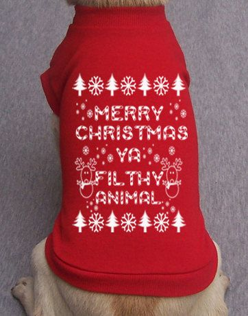 Hey, I found this really awesome Etsy listing at https://www.etsy.com/listing/251789092/dog-t-shirt-merry-christmas-ya-filthy