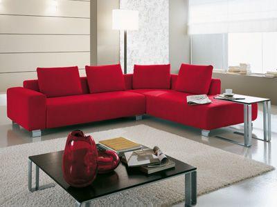 Red Italian Modern Living Room Sofas - Jass Design