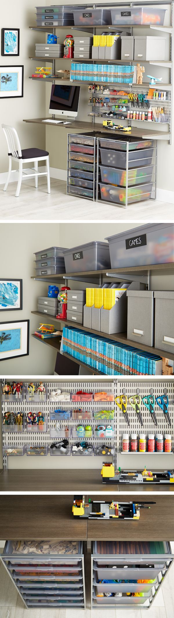 office closet shelving. available exclusively at the container store get free instore pickup on our bestselling elfa custom kids room and playroom shelving u0026 storage solutions office closet
