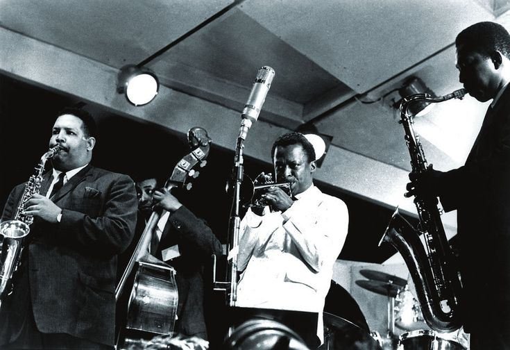 Cannonball Adderley, Paul Chambers, Miles Davis and John Coltrane at the Newport Jazz Festival, 1958