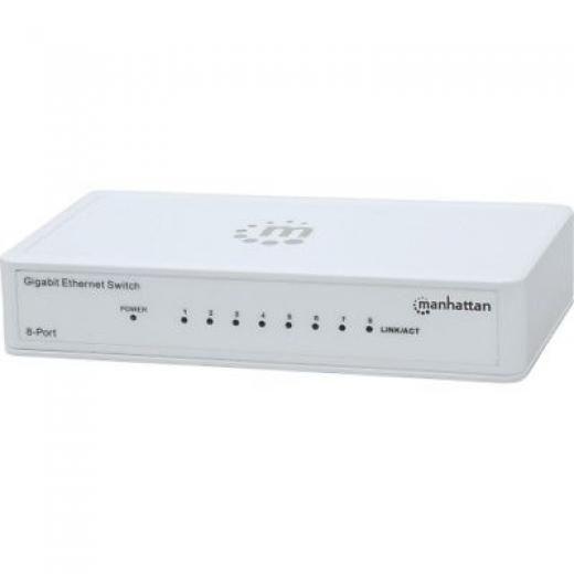 Manhattan New 560702 8-port Gigabit Ethernet Switch Mh 8 Port 766623560702 Ac Adapter 2 11.68 Oz Desktop 10/100/1000base-t 1.1 5.5 3.1 No Yes Twisted Pair Ethernet X Network