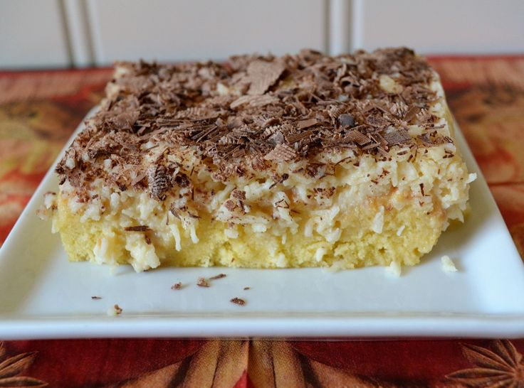 Poke cake with coconut and white chocolate -