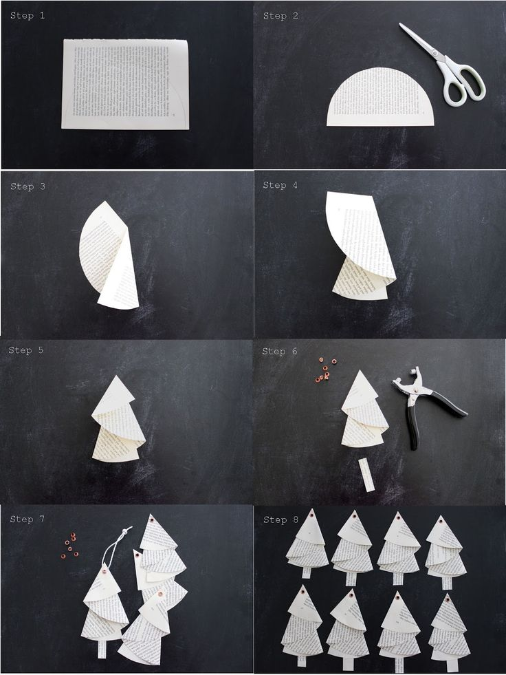 Little trees crafted with book pages /// Kleine gebastelte Bäume aus Bücherseiten