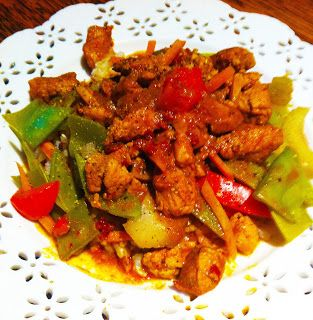 Spicy Curry Chicken with Veggies and Rice. If you are vegetarian, go with tofu. I used red bell peppers, snow peas, celery and carrots on brown rice. The spicy curry sauce simmers to an excellent base. Read all about it.