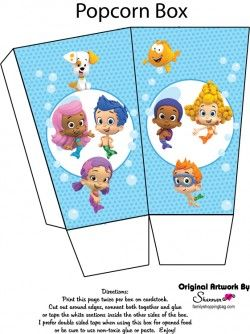 {Free} Printable Bubble Guppies Popcorn Box