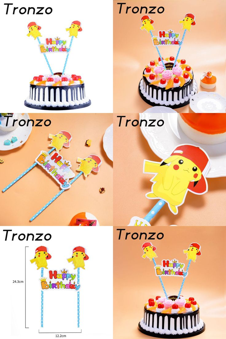 [Visit to Buy] Tronzo Pikachu HAPPY BIRTHDAY Cake Topper Kawaii Pokemon Party Supplies Birthday Party Decoration Cupcake Toppers  #Advertisement