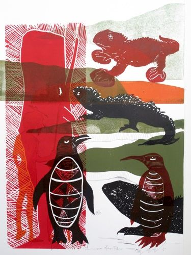 Sheyne Tuffery, Consortium 1, 2011 woodcut, 50x70cm New Zealand Printmakers