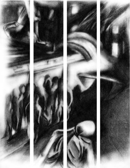 EYES ROLLED WILDLY - Atelier Rambling Powder #artprint, #black and white, #edgar allan poe,  #caspar david friedrich, #romanticism, #expressionism, #drawing, #abstract, #architecture, #illustration, #space, #the wall, #rambling powder, #poster, #artwork, #pencil drawing,  #illustration art, #bookmark, #crowd