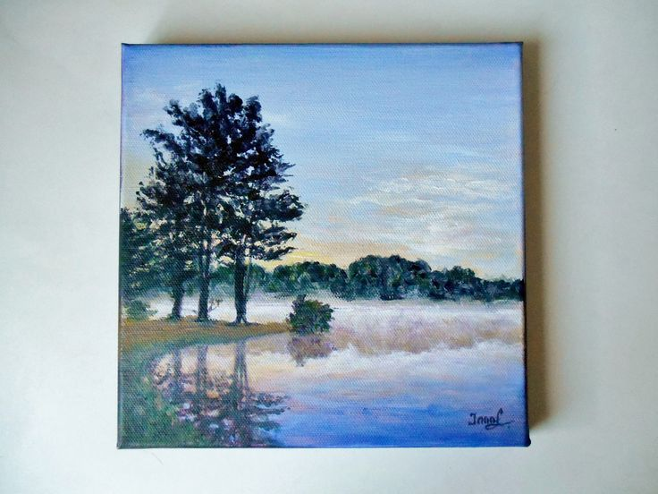 Original Painting on 8 X 8 Canvas Misty River Landscape Painting Sunset Still Life Painting Miniature Painting Forest Painting Canadian Art by SpiritualGiftGallery on Etsy
