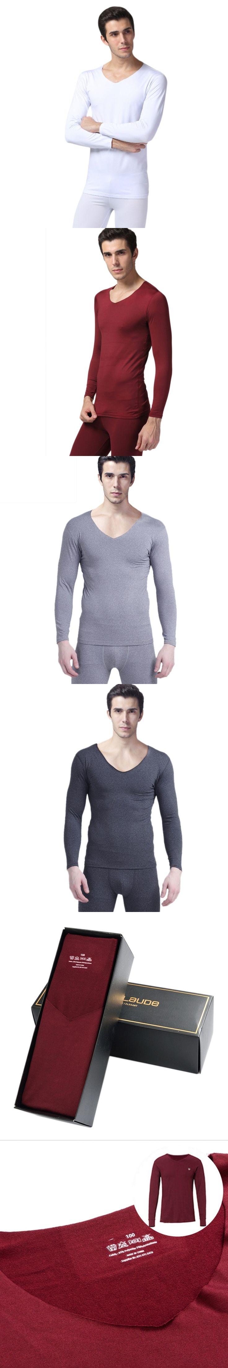 Warm Men 2Pcs Thermal Pajamas Winter Underwear Set Thicken Long Tops Bottom Navy Blue, Dark Gray, Light Gray plus size YRD