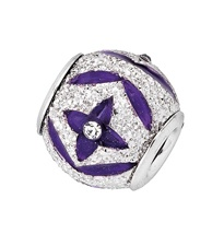Amore & Baci sparkling silver and enamel purple bead