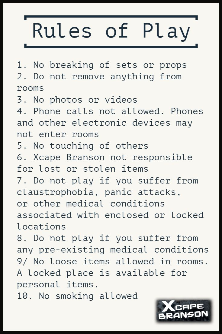 Familiarize Yourself With Our Rules Before Arriving At Xcape Branson Xcapebranson Bransonmo Escaperooms Best Escape Games Escape Game Branson Attractions [ 1103 x 735 Pixel ]
