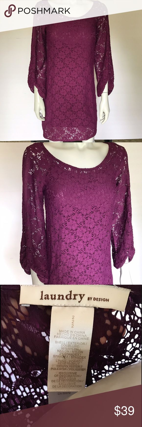 {laundry by design} purple long sleeve dress Pretty purple dress with lace overlay. Unique sleeves. Beautiful, stylish dress can be dressed up or down. Laundry by Design Dresses Long Sleeve