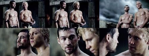 Andy Whitfield (R.I.P.) as Spartacus and Jai Courtney as Varro in Spartacus. The hottest men on this show....and they will never come back! I'll just keep watching season 1 over and over again.