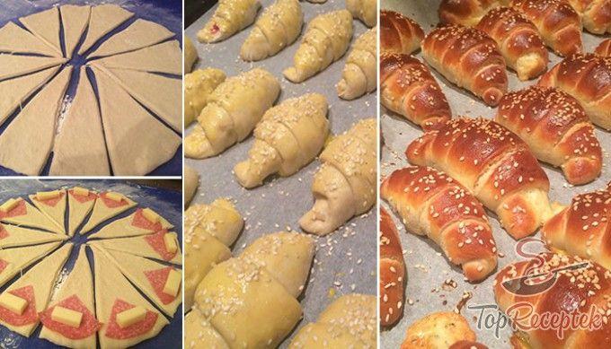 Szalámival és sajttal töltött croissant