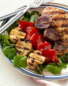 Red Pepper, White Button Mushroom and Blue Potato Salad