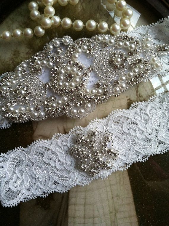 SALE-Wedding Garter-Garters-Bridal by thehoneybeeshop on Etsy