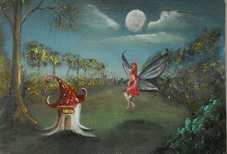 Fairy Visitor  Original Oil Painting 7 x5