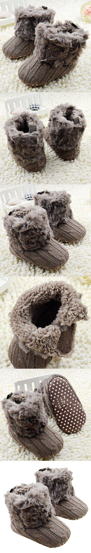 Voberry® Baby Premium Soft Sole Anti-slip Warm Winter Infant Prewalker Toddler Button Snow Boots (6- 12months(12CM), Brown)