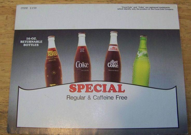 Special 16oz retunable bottles Tab Sprite diet Coke sign 1980's RARE! Coca Cola  | eBay