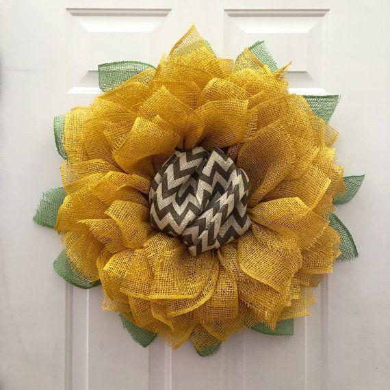 Sunflower Chevron Wreath, Burlap Sunflower Wreath, Front