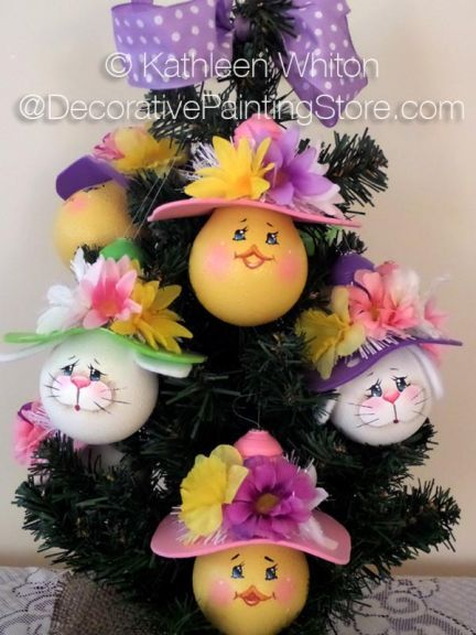 Easter Ornaments. Cute Easter bonnet wearing bunny and chick ornaments made from recycled light bulbs. DecoArt Americana Acrylics; Beginner  Pattern includes photo, instructions, line d  - Kathleen Whiton, Decorative Painting Store - PDF DOWNLOAD