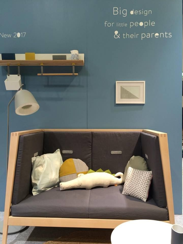 Linea by Leander baby cot as a sofa and our upcoming product - Skyline by Leander (the shelf)