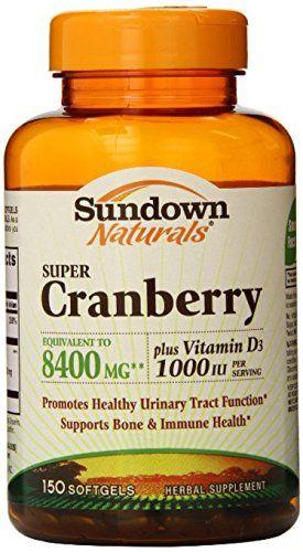 Sundown Naturals Super Cranberry 8400 mg Plus Vitamin D3 1000 IU, 150 Softgels ** Click on the image for additional details.