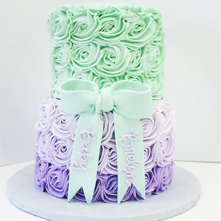 Mint green and lavender ombre buttercream rosette cake with mint green fondant bow by Les Amis Bake Shoppe / Baton Rouge, LA