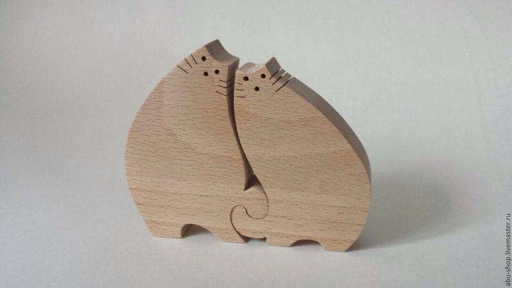 Купить Сувенир из дерева Влюбленные коты - бежевый, подарки и сувениры, изделия из дерева, фигурки из дерева