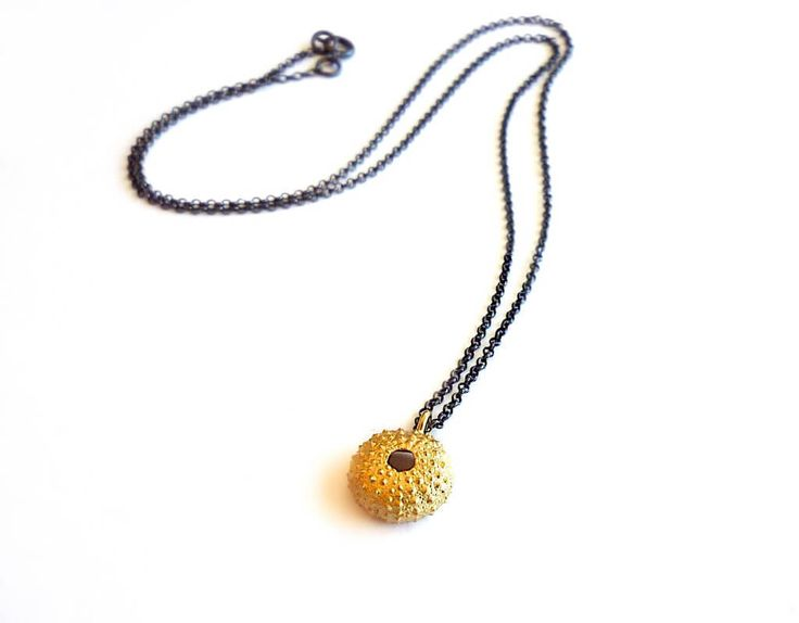 Gold Plated Sterling Silver Sea Urchin Pendant with Black Platinum Plated Sterling Silver Chain