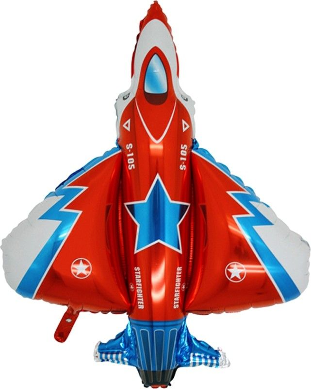 "36"" Balloon Red Fighter Jet Party Air Force Plane Favors Airplane Army Top Gun 
