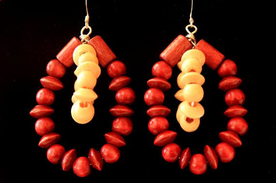 Double hoop in wood Earrings #Wooden Earrings #Beaded Earrings Boho Earrings Lightweight earrings Hoop Earrings #Handmade #Jewelry on ShopJuelerie