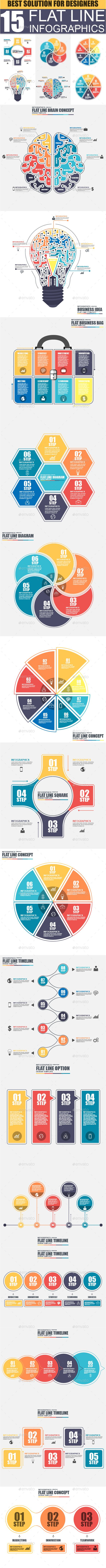 Set of Flat Line Business Infographic — Photoshop PSD #business #chart • Available here → https://graphicriver.net/item/set-of-flat-line-business-infographic/18030289?ref=pxcr