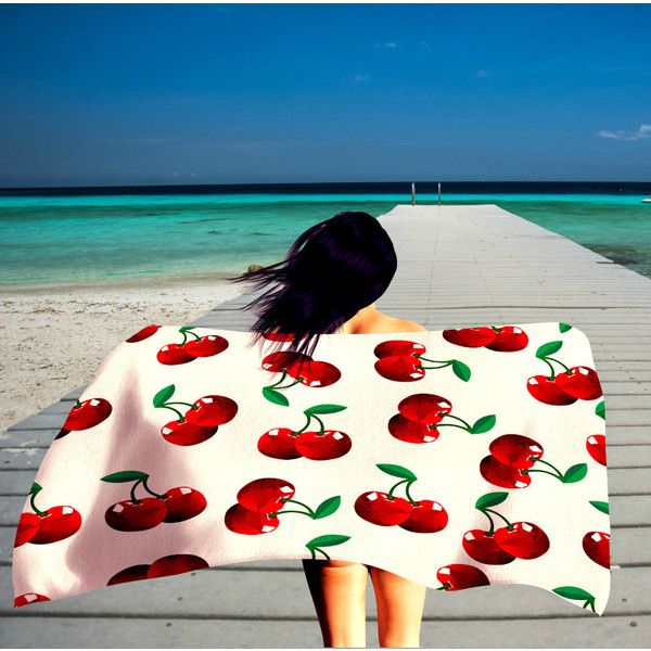 Red Cherry Beach Towel 36 in X 72 In ($48) ❤ liked on Polyvore featuring home, bed & bath, bath, beach towels, bath towels, bathroom, grey, home & living, red beach towel and oversized beach towels