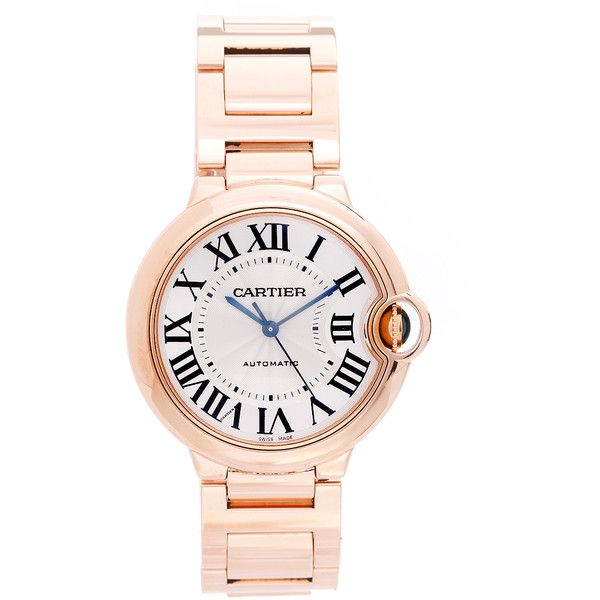 Pre-Owned Cartier Ballon Bleu 36mm 18K  Rose Gold Watch ($22,475) ❤ liked on Polyvore featuring jewelry, watches, rose gold, pre owned jewelry, automatic movement watches, colorful jewelry, tri color jewelry and red gold watches