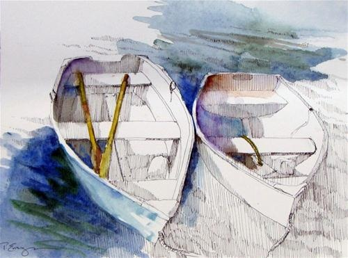 """Double Dinghies"" - Original Fine Art for Sale - © Paula Ensign"