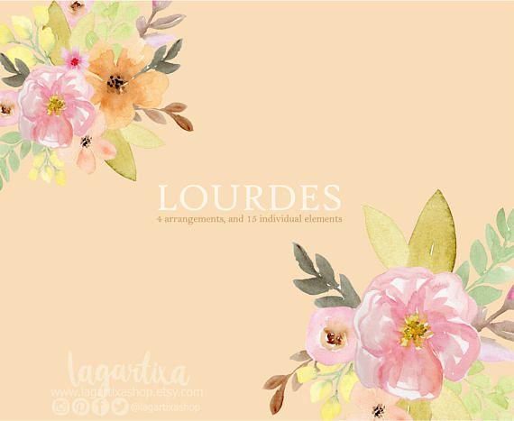 En Acuarela Floral clipart PNG Bouquet de flores para Boda