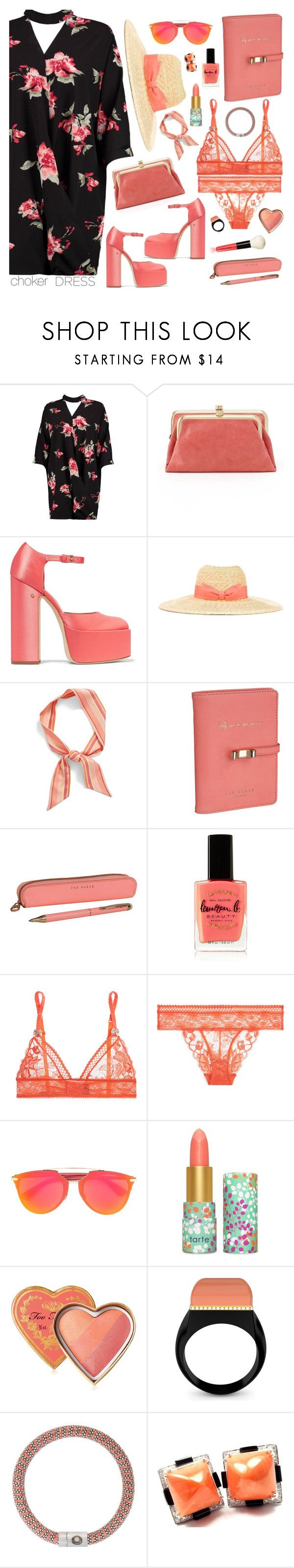 """Coral"" by mmk2k ❤ liked on Polyvore featuring Boohoo, HOBO, Laurence Dacade, Lanvin, Echo, Ted Baker, Lauren B. Beauty, STELLA McCARTNEY, tarte and Too Faced Cosmetics"