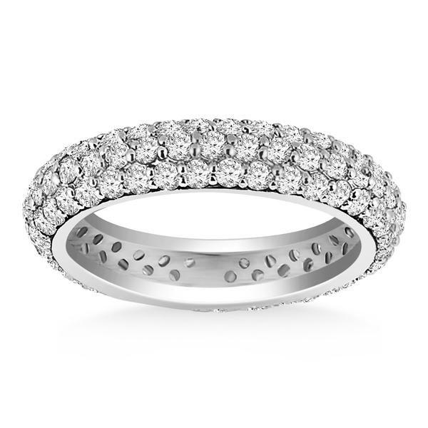 14K White Gold Cupola Round Diamond Eternity Ring in 14K White Gold