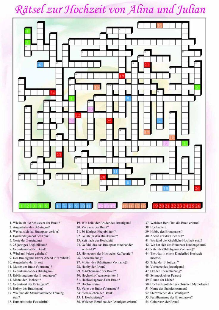 Kreuzworträtsel fragen hochzeit