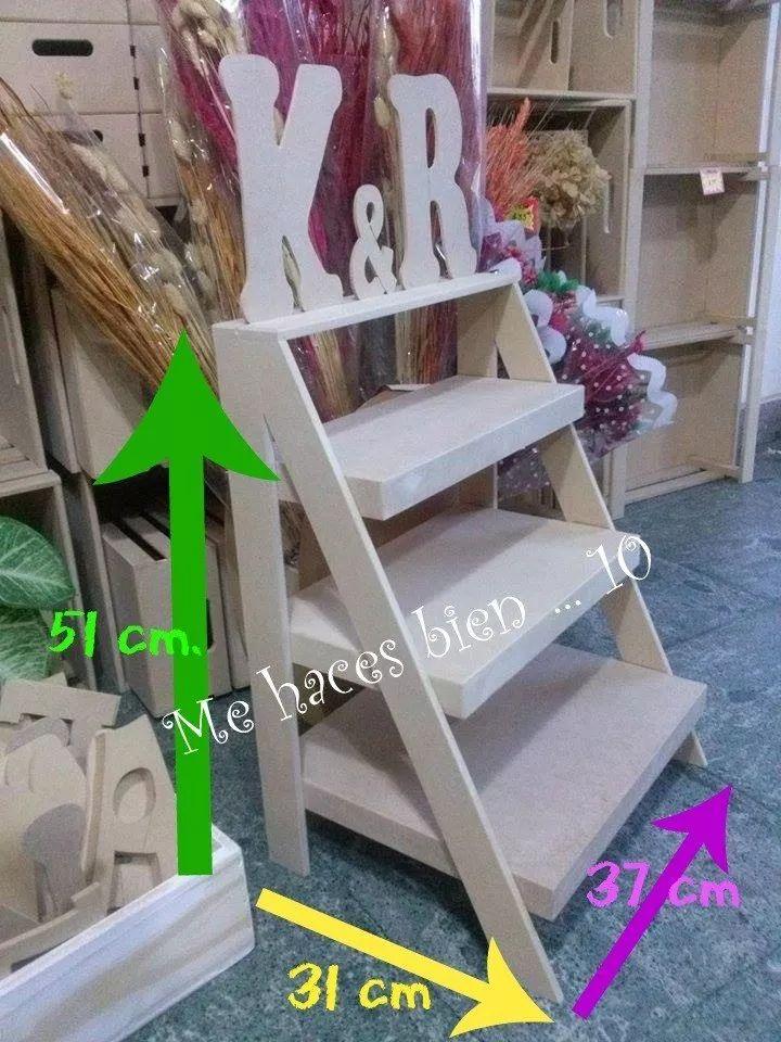 escalera repisa estantes fibrofacil candy bar decoracion