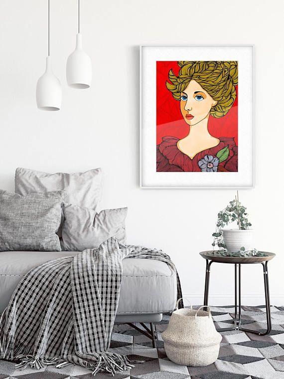 Red Portrait Portrait Strong Women Boho Wall Art Boho