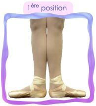 En première, les talons se touchent et les pointes de pied sont tournées vers l'extérieur.
