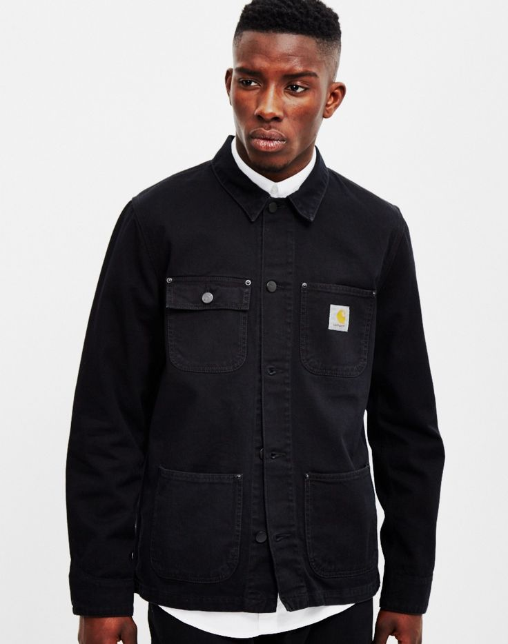 Carhartt WIP Michigan Chore Coat Black Denim | Shop men's jackets, coats  and clothing at